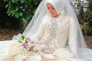 صورة فساتين طويلة للمحجبات , احدث فساتين الزفاف