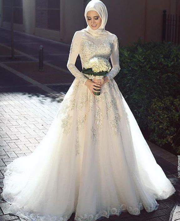 بالصور فساتين زفاف محجبات , اجدد تفصيلات وتصاميم فساتين الافراح 1998 4