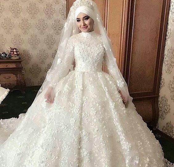 صور فساتين زفاف للمحجبات , اجمل فستان للعروسة