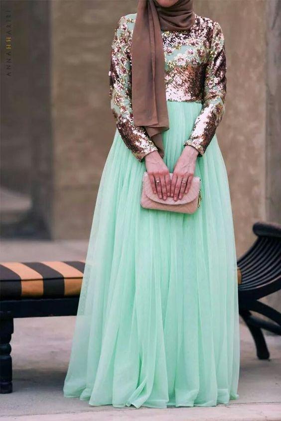 صور فساتين سواريه للمحجبات 2019 , اجدد فستان مناسبات 2019