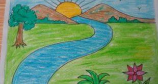 صورة ساعدى طفلك على الابداع , رسم منظر طبيعي سهل للاطفال